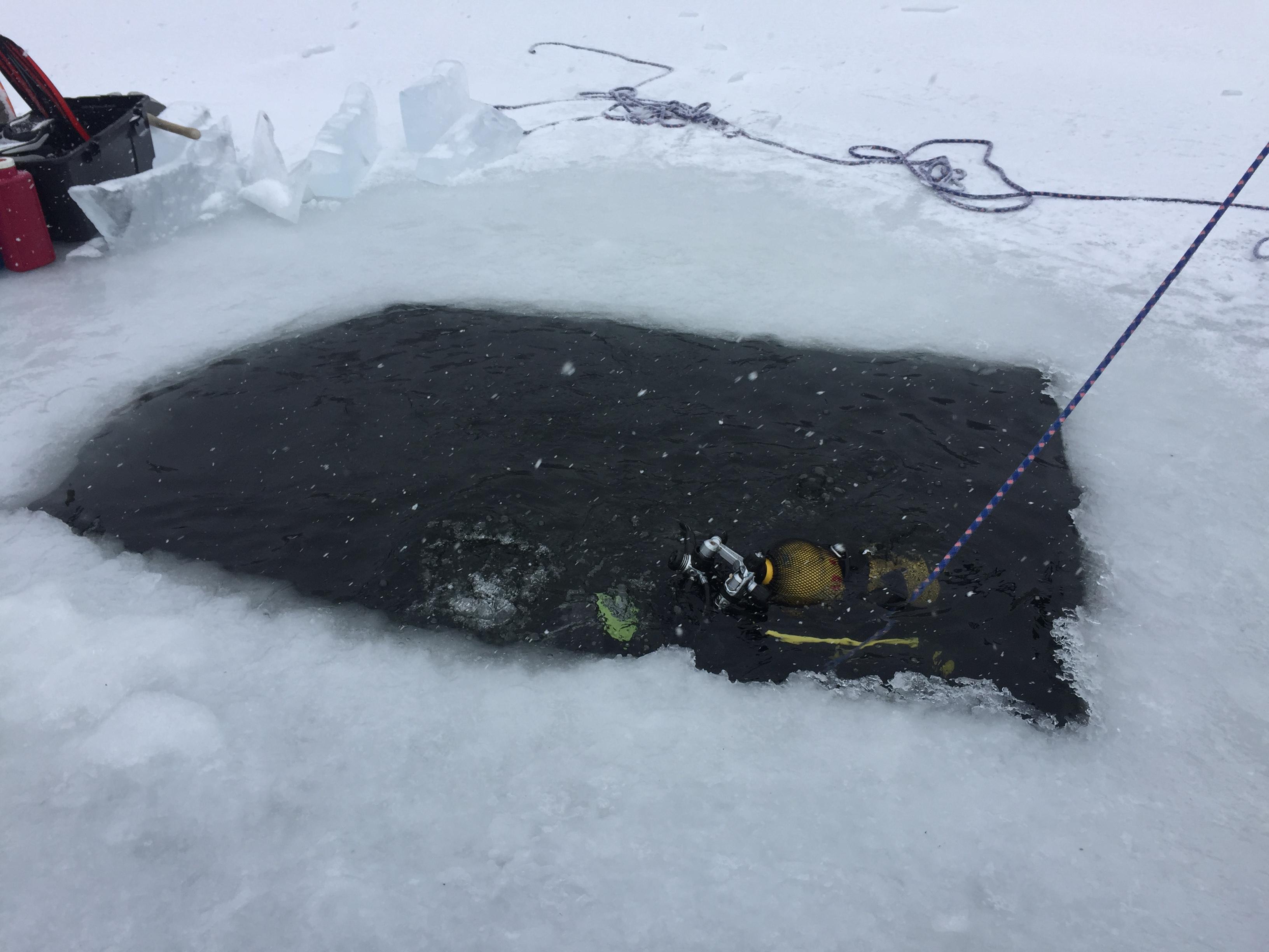 balcère plongée sous glace