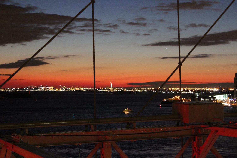 coucher de soleil pont de brooklyn